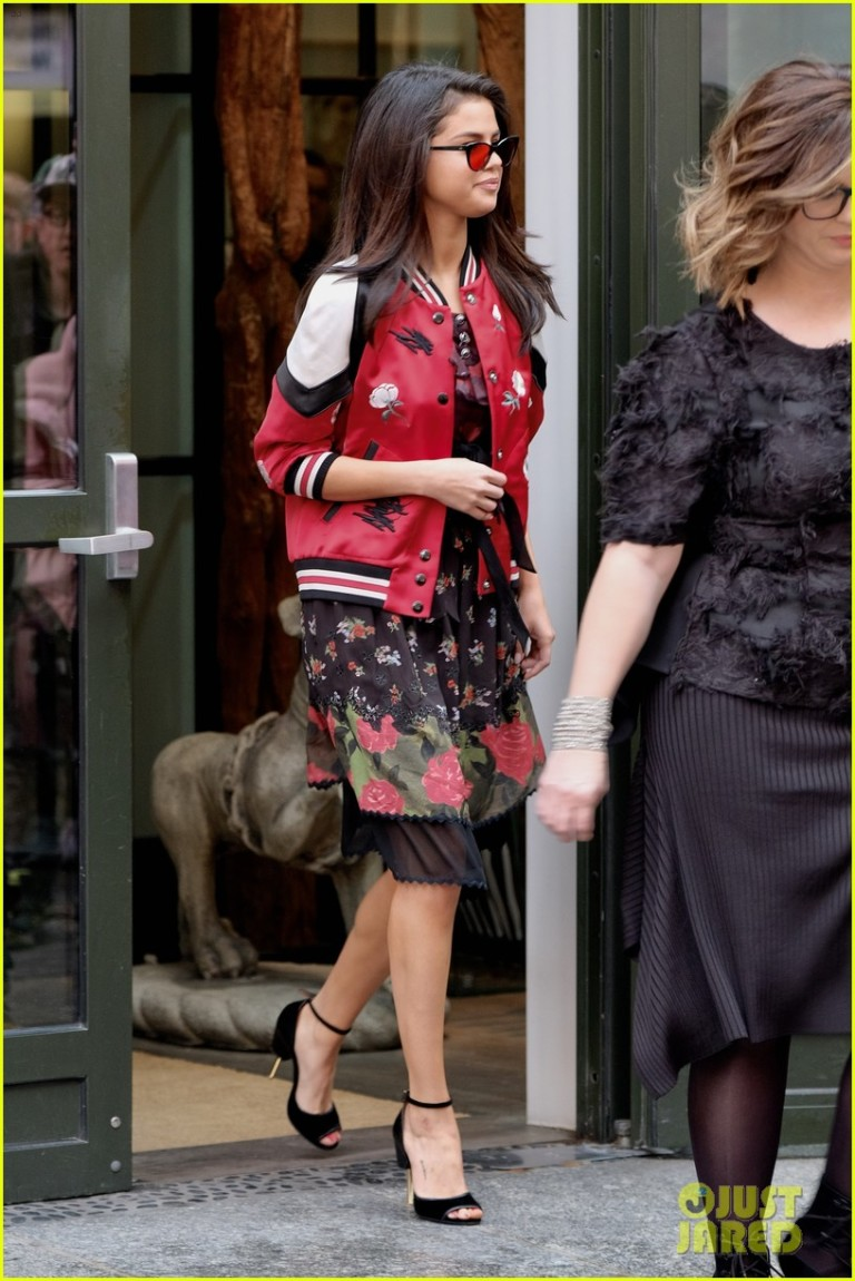 selena-gomez-red-bomber-jacket-floral-skirt-new-york
