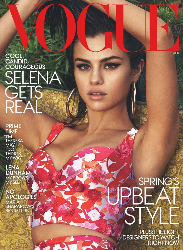 Selena Gomez floral bustier Vogue April 2017