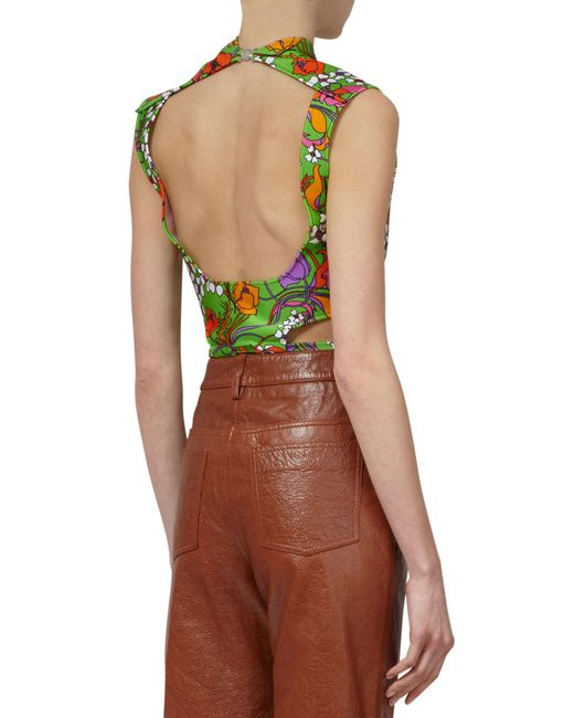 Balenciaga Green Flower Print Open Back Cotton Crop Top back view