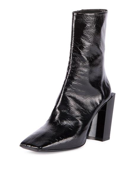 Balenciaga Patent Square-Toe Block-Heel Booties