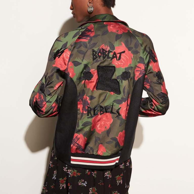 Coach Camo Rose Varsity Jacket with Raglan Sleeve back view
