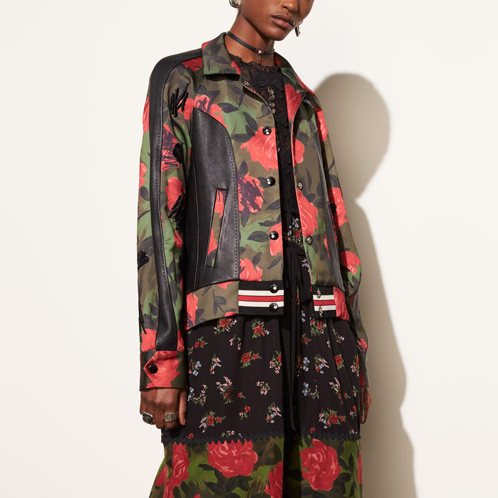 Coach Camo Rose Varsity Jacket with Raglan Sleeve