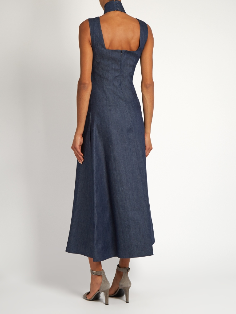 emilia-wickstead-mary-high-neck-denim-dress-back-view
