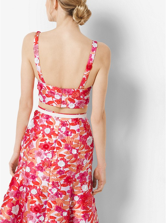 Michael Kors Sequinned Floral Jacquard Bralette back view
