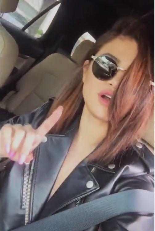 Selena Gomez black biker jacket Nicki Minaj