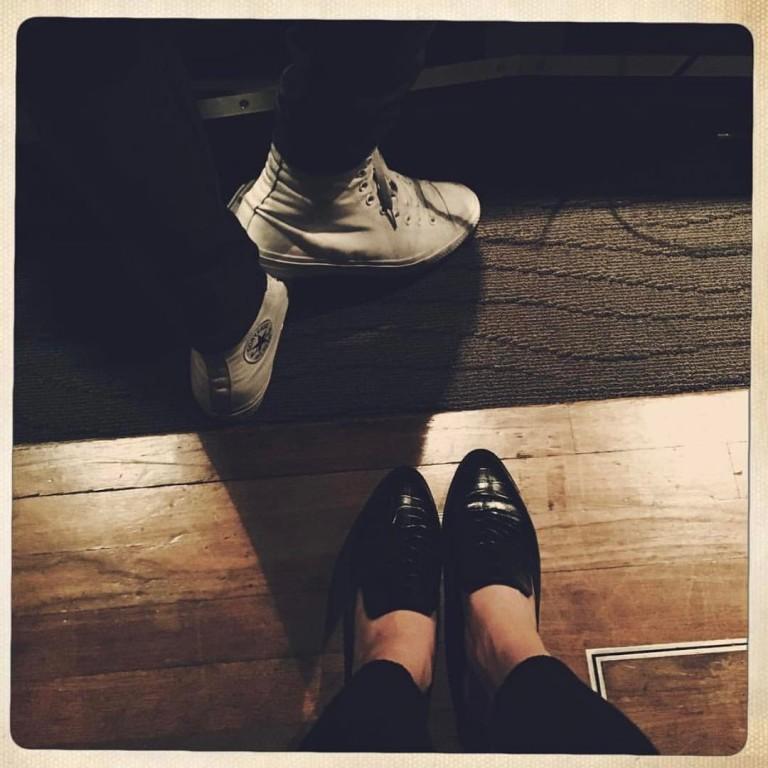 Selena Gomez black slip on Robert Clergerie shoes photo Chris Classen