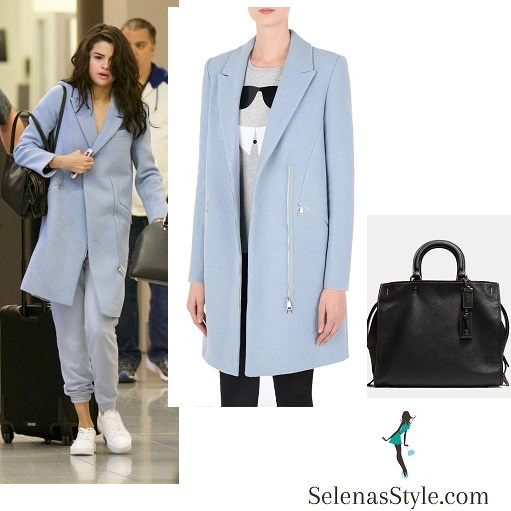 Selena Gomez style blue zip coat