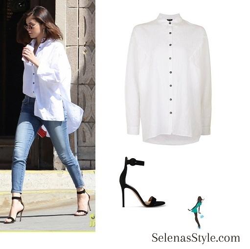 selena gomez oversized white shirt jeans black sandals March 2017