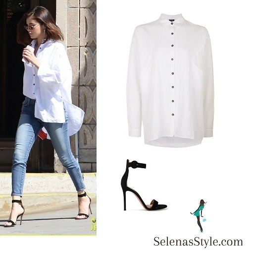 selena gomez oversized white shirt jeans black sandals March 2017