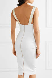 VICTORIA BECKHAM - SILK SATIN-TRIMMED STRETCH-CREPE DRESS - WHITE back view