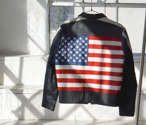 Black Leather Racer American Flag Jacket back view