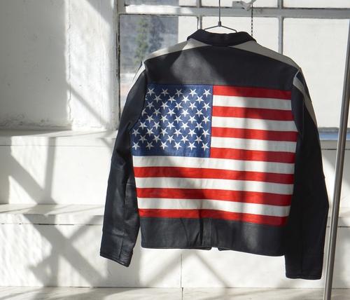 Black Leather Racer American Flag Jacket back view