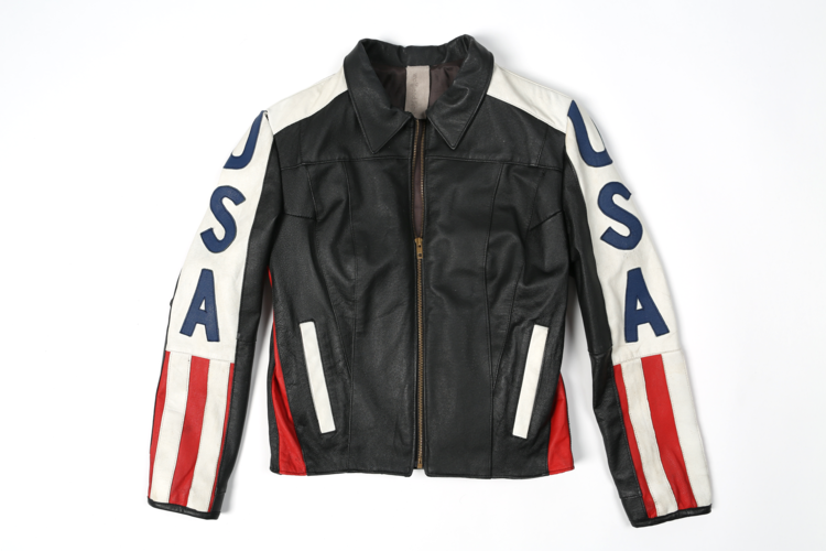 Black Leather Racer American Flag Jacket