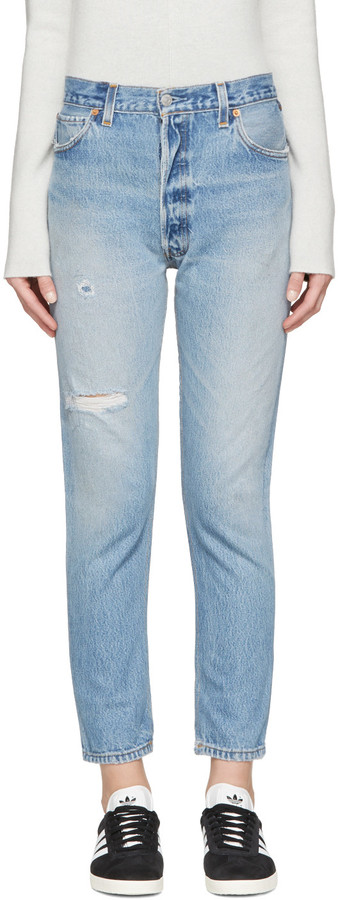 Blue Distressed High Rise Ankle Crop Jeans