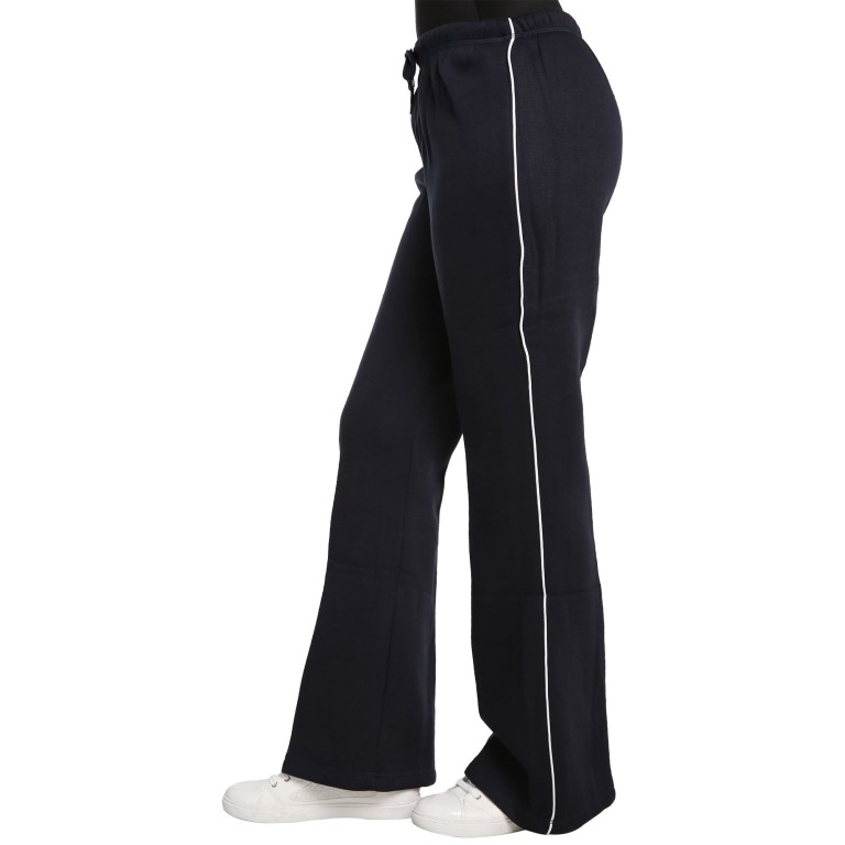 Sweet Vibes Junior Young Women Navy Blue Fleece Flare Sweatpants Contrast Piping