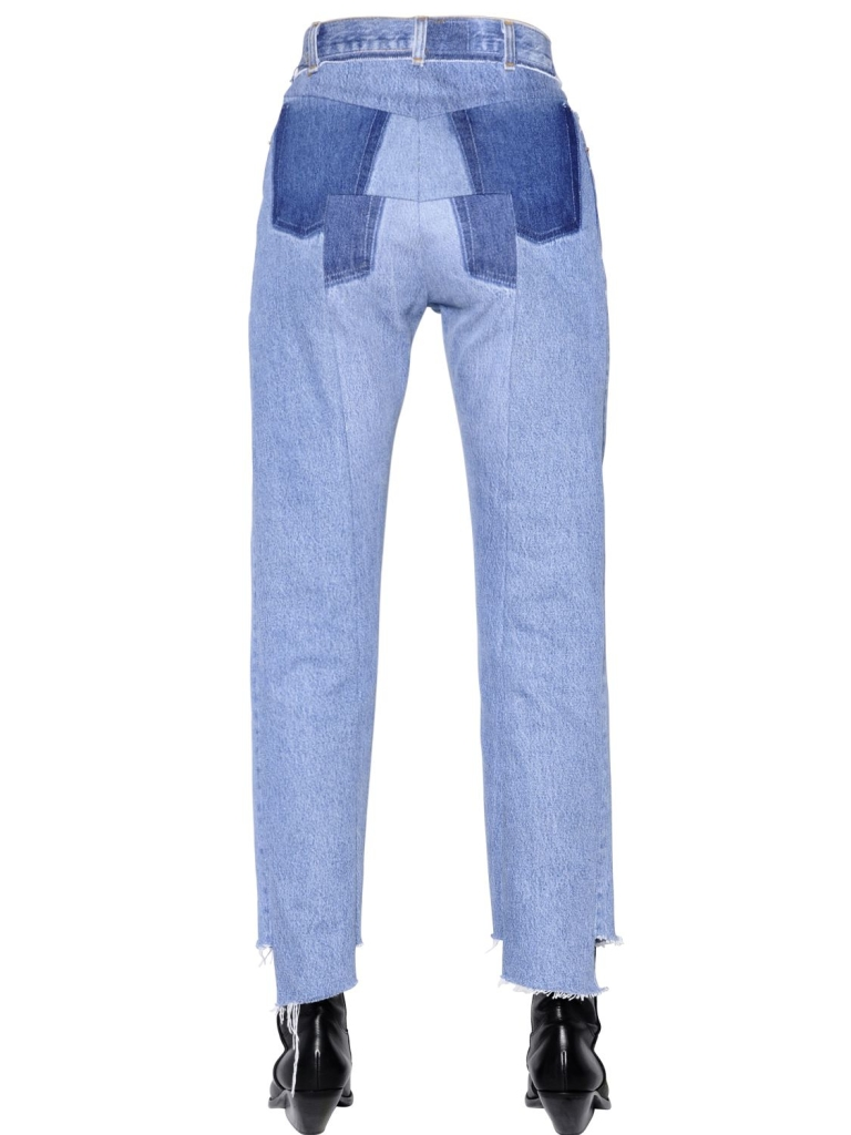 Vetements Cropped Washed Cotton Denim Jeans back view
