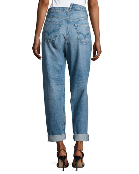 Monse High Waisted Deconstructed Boyfriend Jeans back view