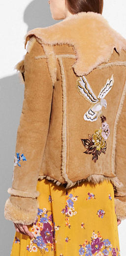 Coach Eagle Raggedy Shearling Jacket back view