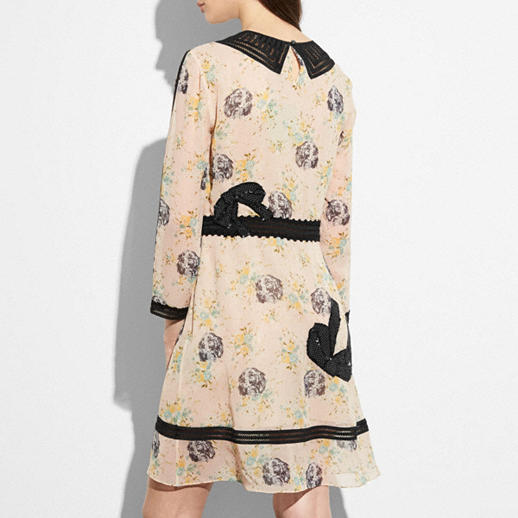 CoachEmbroidered Prairie Dog Rose Dress back view