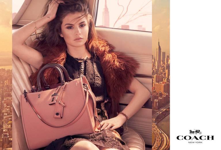 Selena Gomez black dress orange fur coat pink bag Coach campaign photo Steve Meizel