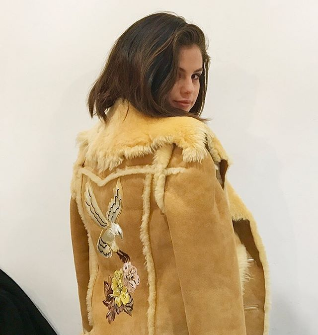 a4e9b9f126415 Selena Gomez sheepskin coat Caoch campaign behind the scenes photo Stuart  Vevers