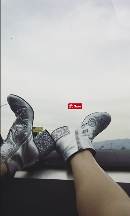 Selena Gomez silver boots April 11 2017 photo Therese Marie