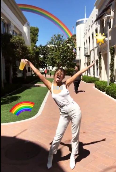 Selena Gomez white tank trousers pants boots 13 June 2017
