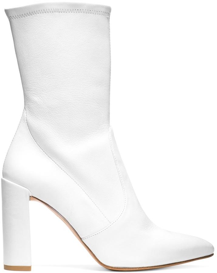 Stuart Weitzman Clinger booties white
