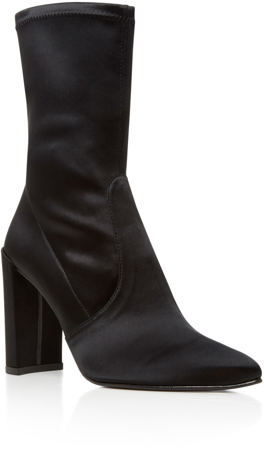 Stuart Weitzman Clinger Stretch Satin Ankle Boots