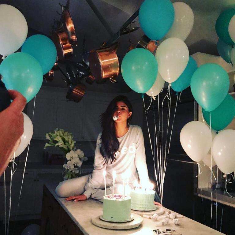 Selena Gomez light blue loved sweatshirt 25th Birthday July 2017