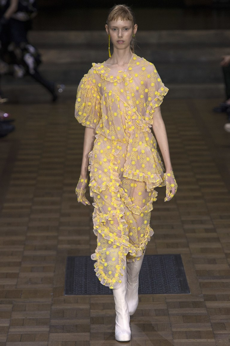 Simon Rocha spring 2017 yellow flora organza dress