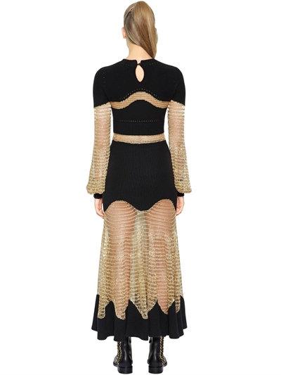 Alexander McQueen Lurex Mesh & Ottoman Knit Dress back view
