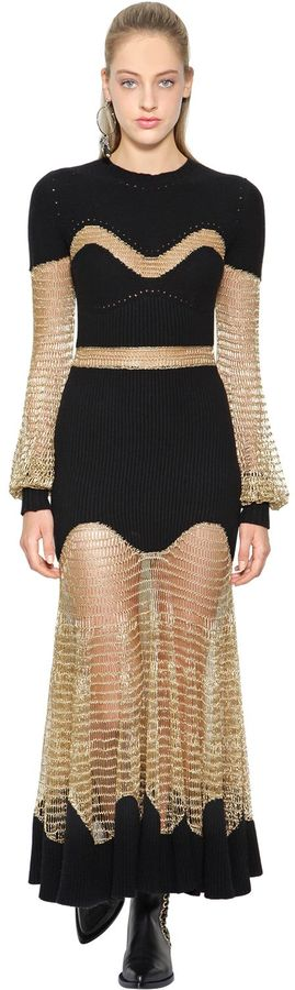 Alexander McQueen Lurex Mesh & Ottoman Knit Dress