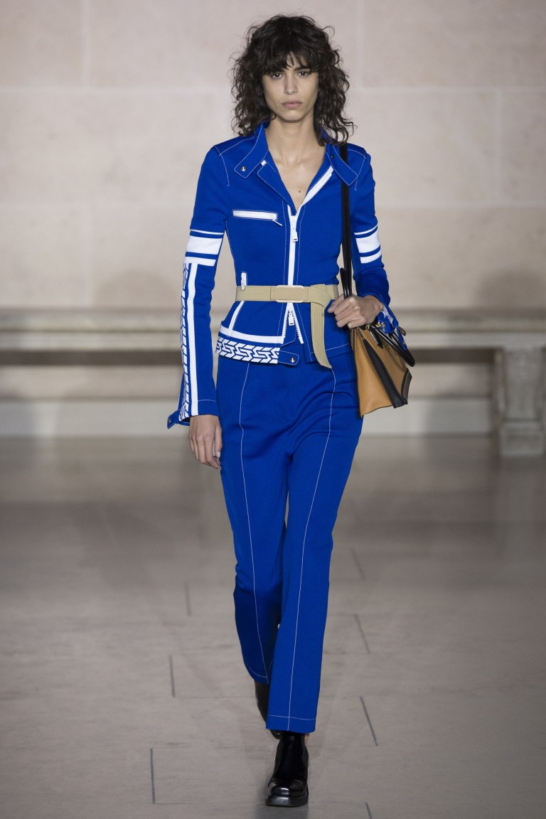 Louis Vuitton blue jacket and trousers Fall 2018 photo