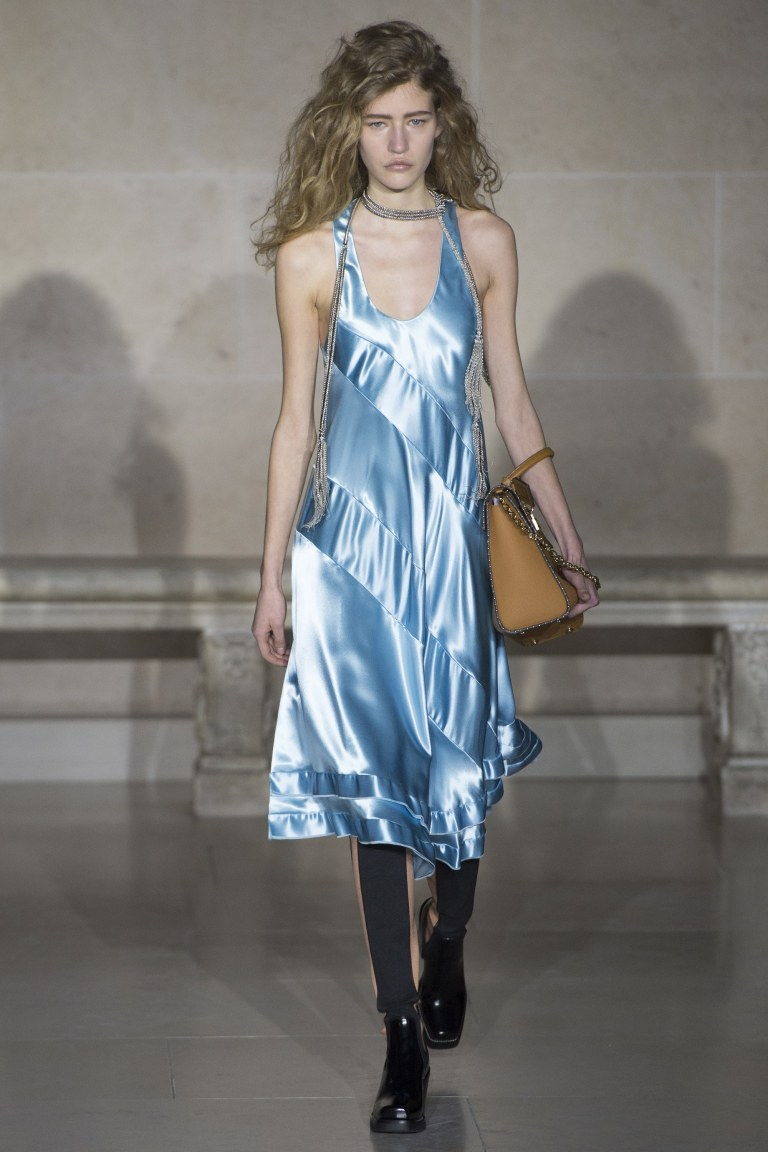 Louis Vuitton blue satin dress Fall 2017
