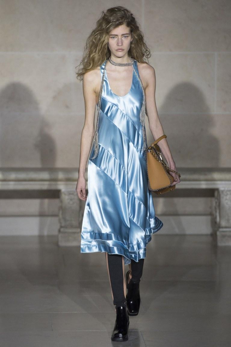 Louis Vuitton blue satin dress Fall 2017