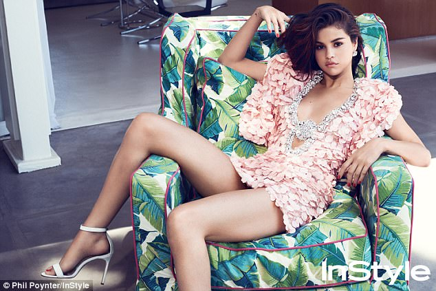 Selena Gomez pink petal dress InStyle September 2017 photo Phil Poynter