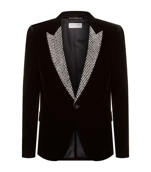 Saint Laurent Embellished Velvet Tuxedo Jacket