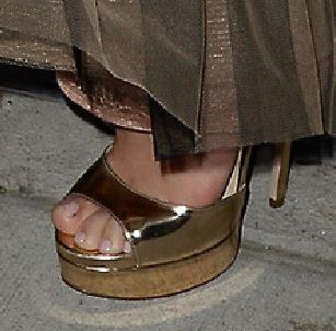 Selena Gomez gold sandals
