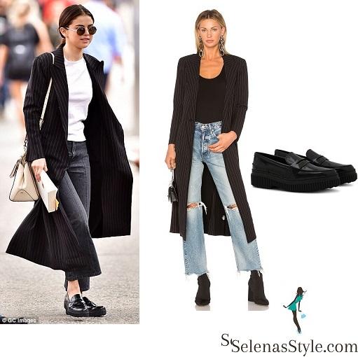 fa0d55a793 Norma Kamali Double Breasted Pinstripe coat – Selena Gomez Style Blog
