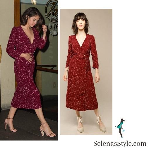 Selena Gomez Red Wrap Dress for Dinner at Sushi-Seki ...