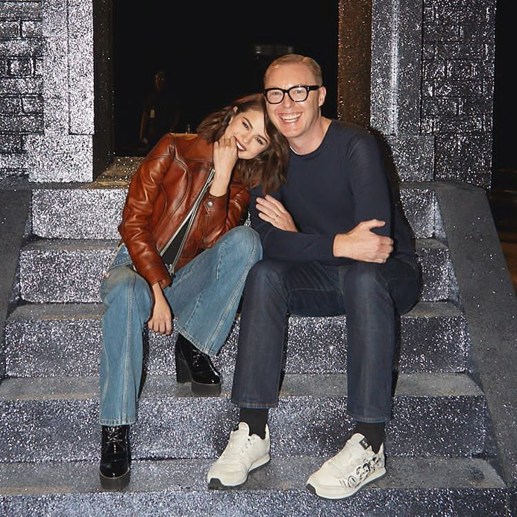 Selena Gomez with Stuart Vevers at Coach SS18 September 2017