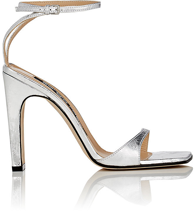 Sergio Rossi Laminated Leather Ankle-Strap Sandals