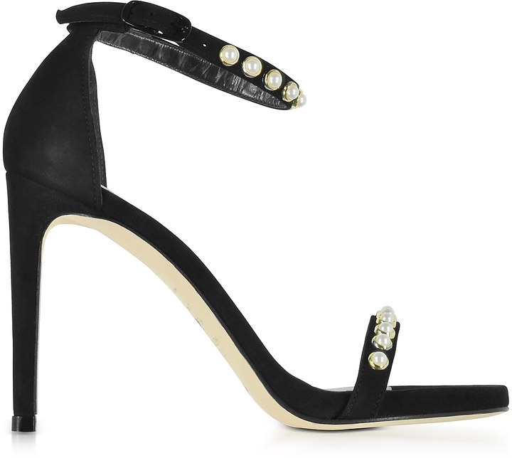 Stuart Weitzman  Nudistpearls Black Suede High Heel Sandals