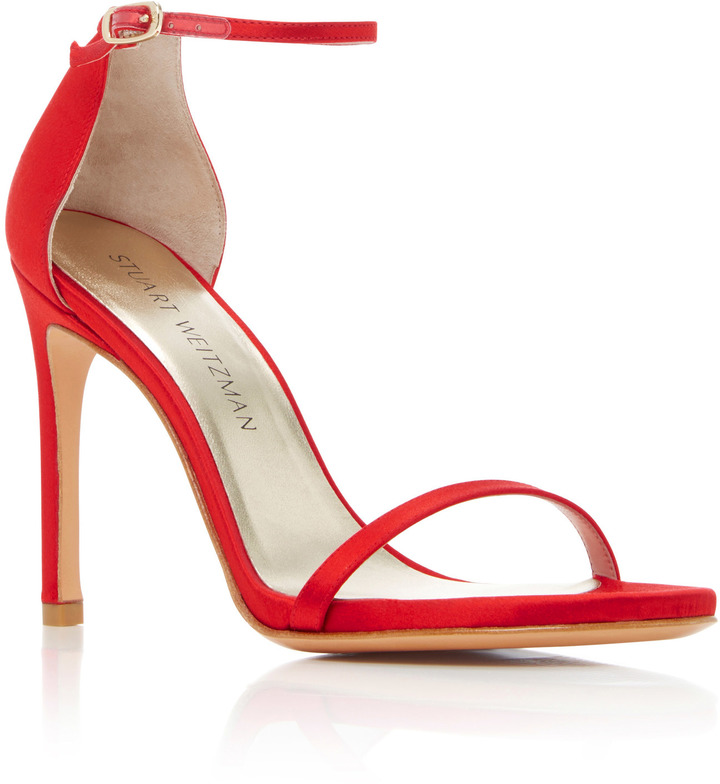 Stuart Weitzman 'Nudist' Satin Sandals