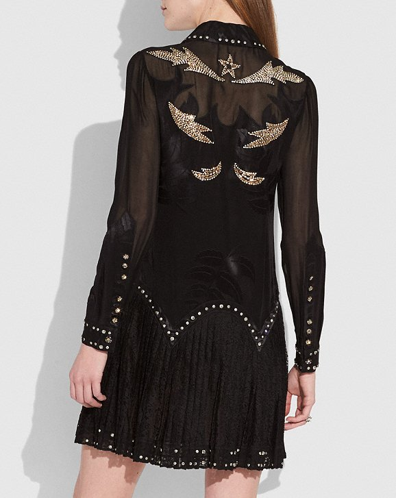 Coach Crystal Embellished Western Dress back view