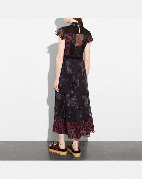 Coach Mixed Print Lacework Dress With Necktie back view