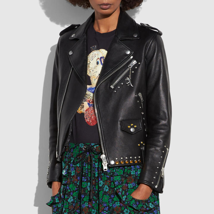 Coach Western Rivets Moto Jacket