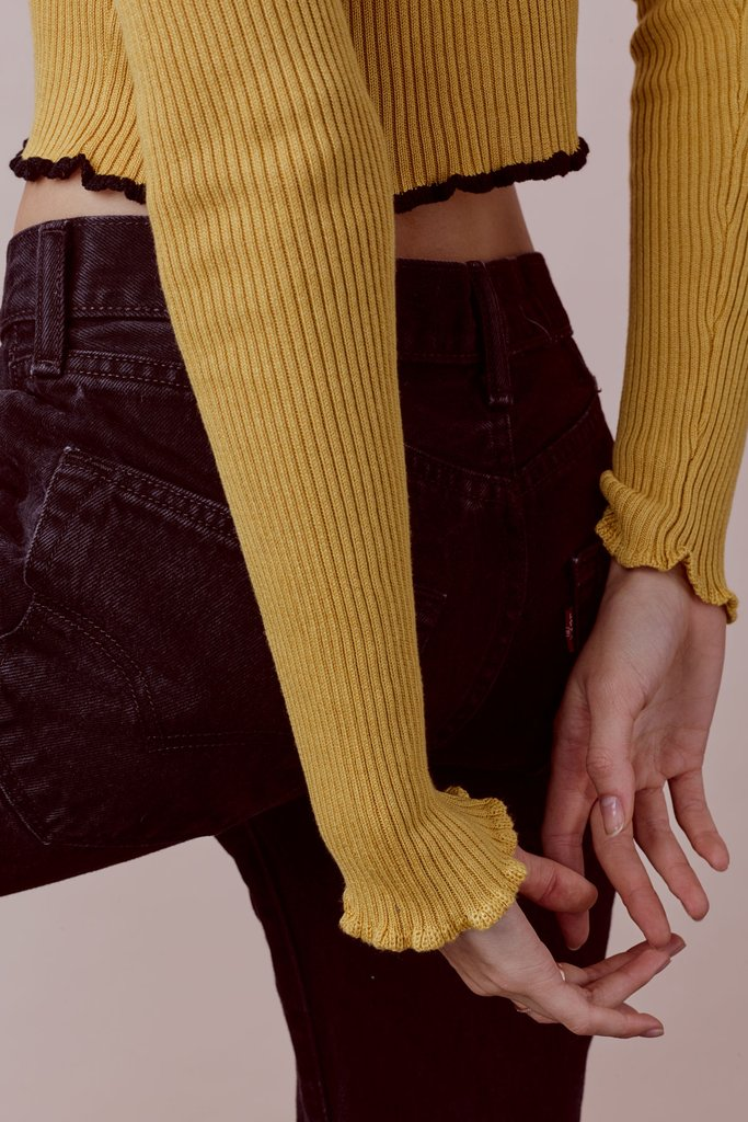 For Love and LemonsRuffle Edge Crop Sweater back view