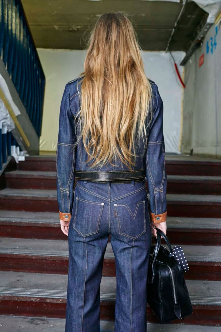 Louis Vuitton overstitched denim pants back view